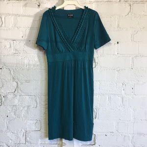 BCBG Teal Green V-Neck Fitted Dress